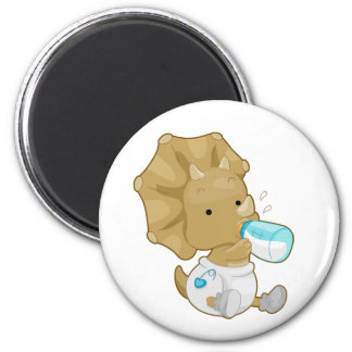 Baby Triceratops 2 Inch Round Magnet