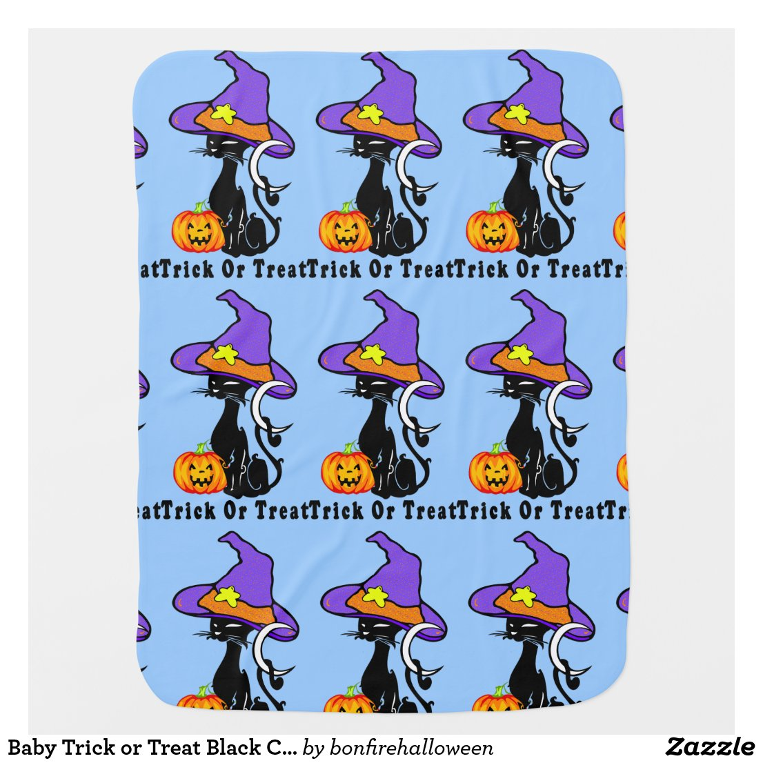 Baby Trick or Treat Black Cats Swaddle Blankets