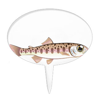 Baby trout cartoonified vector Art fish farm Cake Topper
