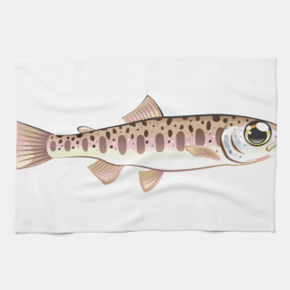 Baby trout cartoonified vector Art fish farm Hand Towel