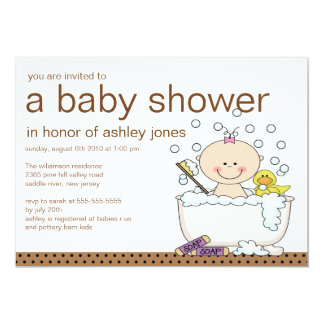 Baby Tub Girl Baby Shower 5x7 Paper Invitation Card