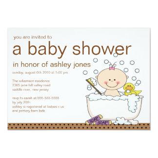"Baby Tub Girl Baby Shower 5"" X 7"" Invitation Card"