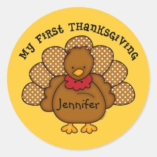 Baby Turkey 1st Thanksgiving Stickers