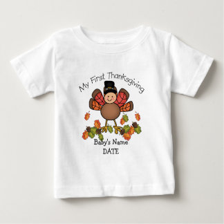 Baby Turkey First Thanksgiving ADD Name & Date Baby T-Shirt