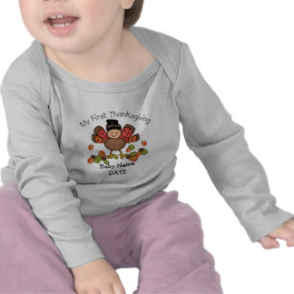 Baby Turkey First Thanksgiving ADD Name & Date Tee Shirt