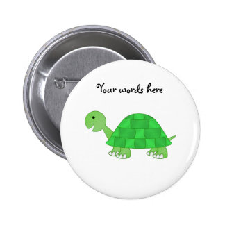 Baby turtle in green fade pinback button