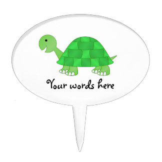 Baby turtle in green fade oval cake topper
