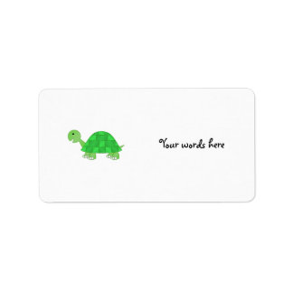 Baby turtle in green fade custom address labels