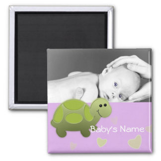 Baby Turtle/ Photo 2 Inch Square Magnet