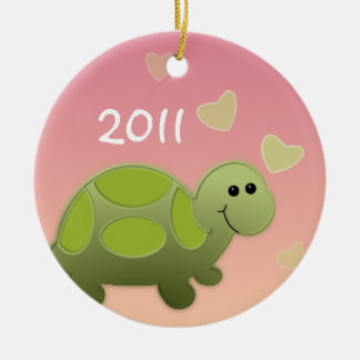 Baby Turtle/ Photo Ceramic Ornament