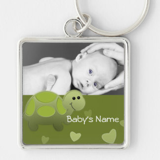 Baby Turtle/ Photo Silver-Colored Square Keychain