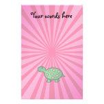 Baby turtle pink sunburst customized stationery