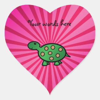 Baby turtle pink sunburst heart sticker