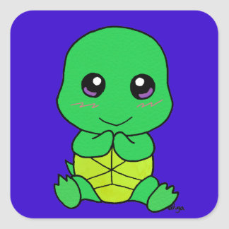 Baby turtle square stickers