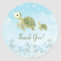 Baby Turtle Under The Sea Thank You Sticker Favors