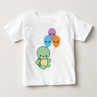 Baby turtle with kawaii balloons. infant t-shirt