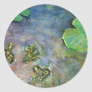 Baby Turtles in Rainbow Water Lilly Pads Fine Art Round Stickers