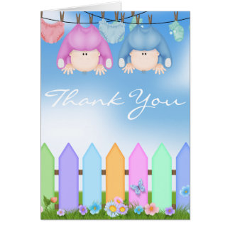 BABY TWIN BOY & GIRL THANK YOU CARD BABY SHOWER