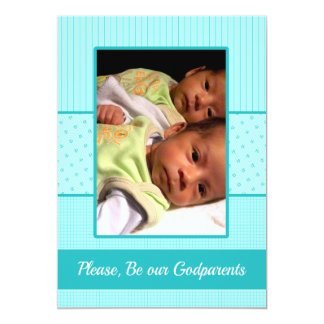 Baby Twin Boys be our Godparents Invitation