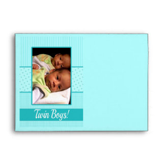 Baby Twin Boys Birth Announcement Envelope