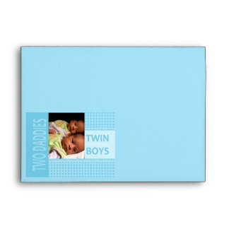 Baby Twin Boys Gay Dads Birth Announcement Envelope