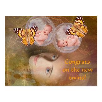Baby twin boys or girls postcard