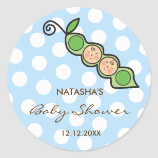 Baby Twin Boys Pea in a Pod Baby Shower Label / Classic Round Sticker