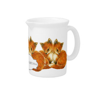 Baby Twin Foxes Beverage Pitcher