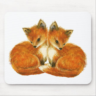 Baby Twin Foxes Mouse Pad