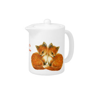 Baby Twin Foxes Teapot