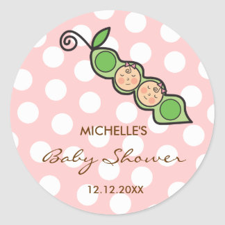 Baby Twin Girls Pea in a Pod Baby Shower Label / Classic Round Sticker