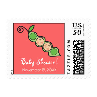 Baby Twin Girls Pea in Pod Invitation Stamps