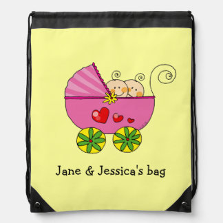 baby twin girls (pink pram) - name customized drawstring bag