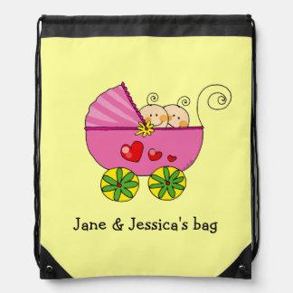 baby twin girls (pink pram) - name customized backpacks