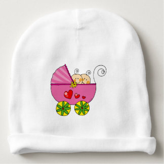 baby twin girls (pink pram) nursery baby beanie