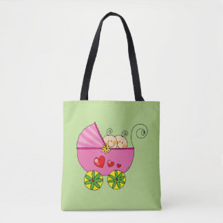 baby twin girls (pink pram) tote bag