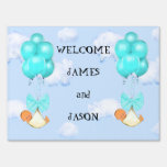 baby twins announcement yard sign