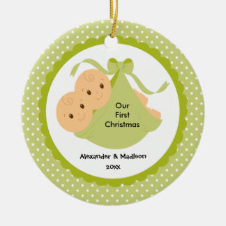 Baby Twins Baby's First Christmas Ornament