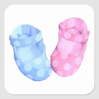 Baby Twins Booties Square Sticker