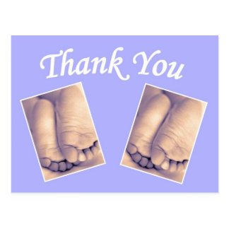 Baby twins little feet thank you blue postcards