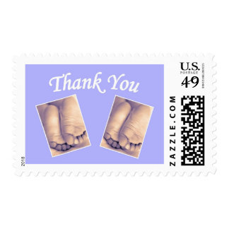 Baby twins little feet thank you blue stamp