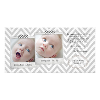 Baby TWINS Thank You Photo Cards Template