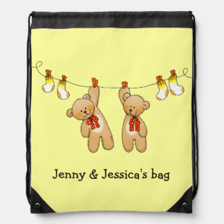 baby twins toys (teddy bears & baby socks) drawstring bag
