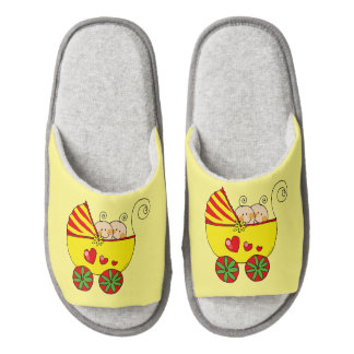 baby twins (yellow pram) nursery pair of open toe slippers