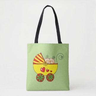 baby twins (yellow pram) tote bag