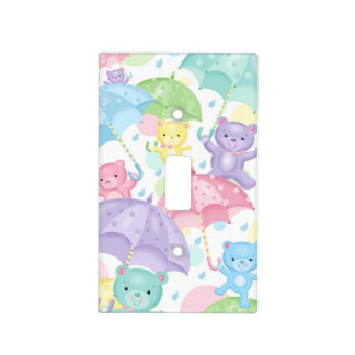 Baby Umbrella Bears Light Switch Cover