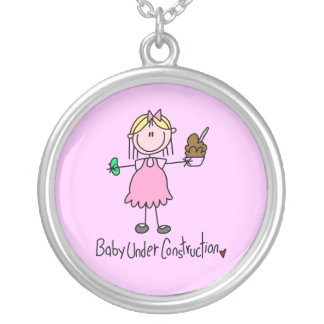 Baby Under Construction T-shirts and Gifts Silver Plated Necklace
