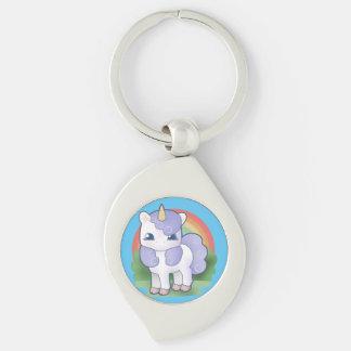 Baby Unicorn and Rainbow Keychain