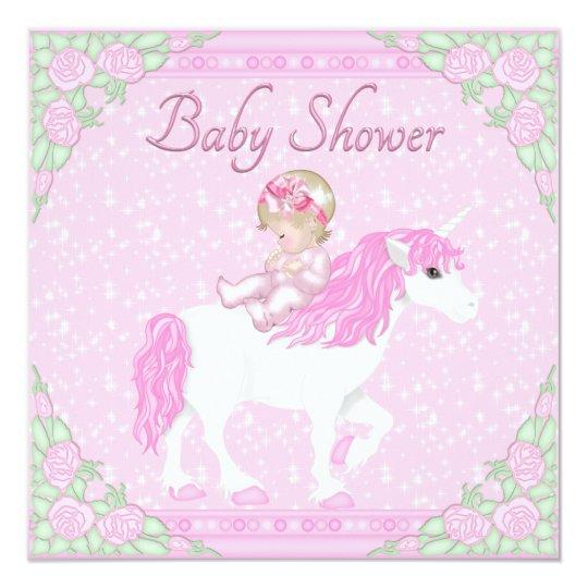 Baby Shower Unicorn ~ Baby unicorn and roses pink shower card zazzle