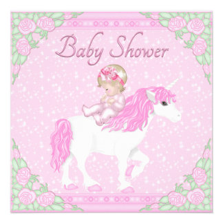 Baby, Unicorn and Roses Pink Baby Shower Announcements